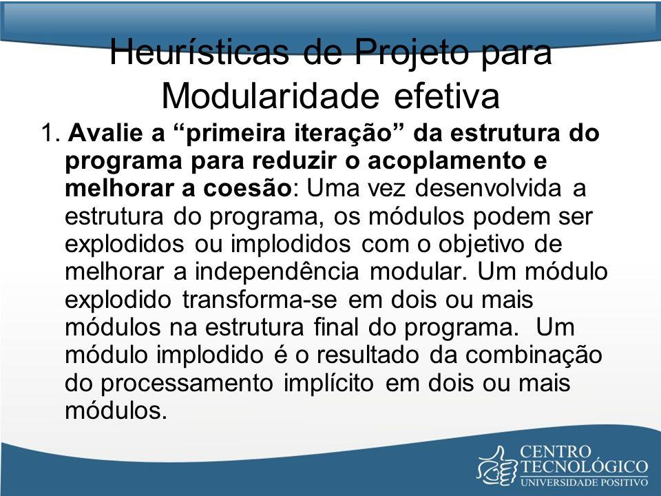 Heurísticas de Projeto para Modularidade efetiva 1. Avalie a primeira iteração da estrutura do programa para reduzir o acoplamento e melhorar a coesão