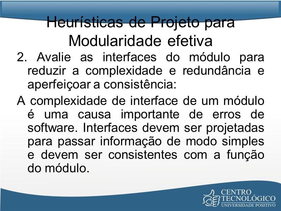 Heurísticas de Projeto para Modularidade efetiva 2. Avalie as interfaces do módulo para reduzir a complexidade e redundância e aperfeiçoar a consistên