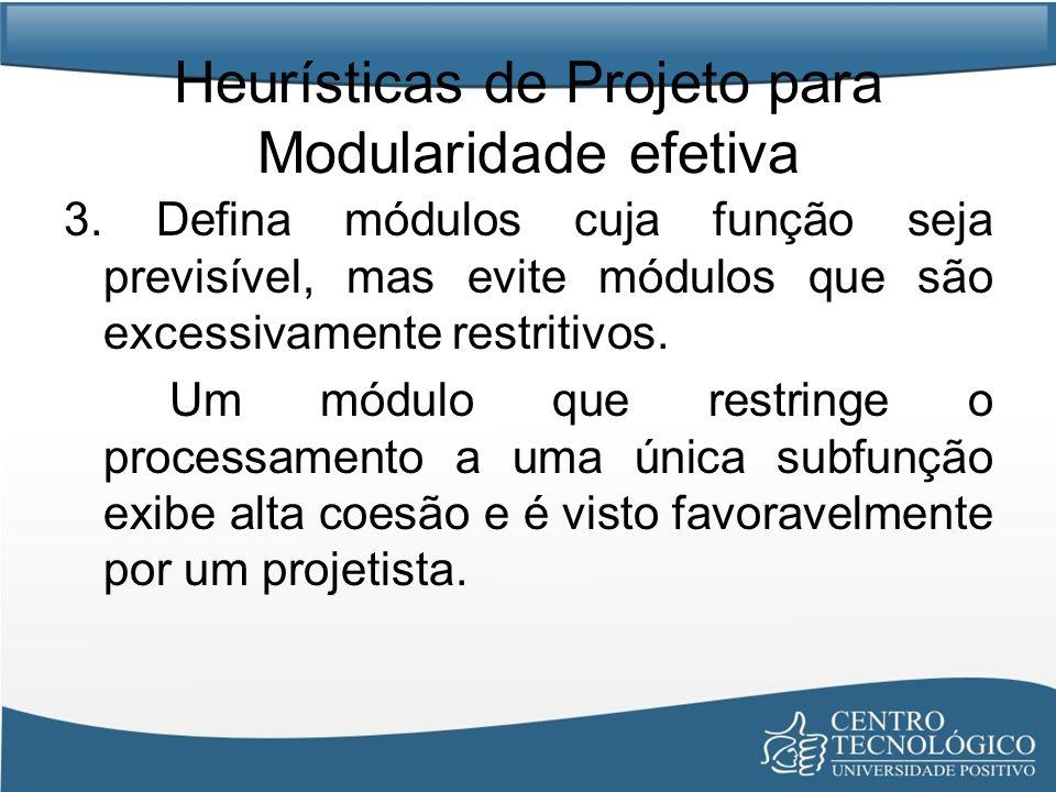 Heurísticas de Projeto para Modularidade efetiva 3. Defina módulos cuja função seja previsível, mas evite módulos que são excessivamente restritivos.