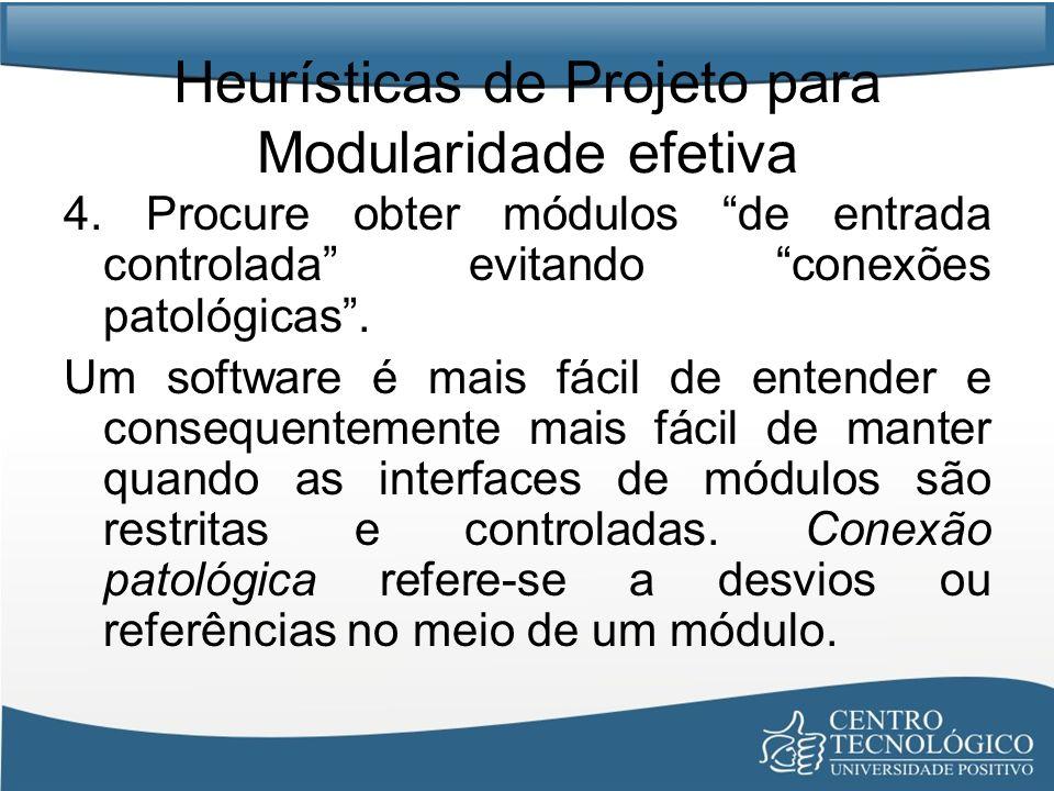 Heurísticas de Projeto para Modularidade efetiva 4. Procure obter módulos de entrada controlada evitando conexões patológicas. Um software é mais fáci