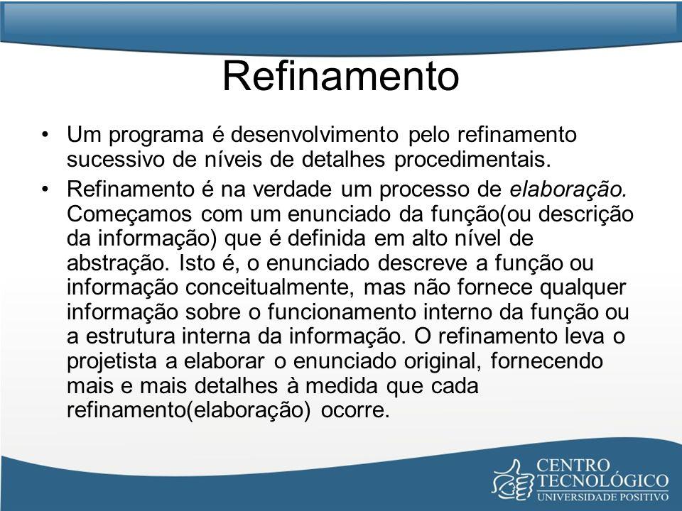 Refinamento Um programa é desenvolvimento pelo refinamento sucessivo de níveis de detalhes procedimentais. Refinamento é na verdade um processo de ela