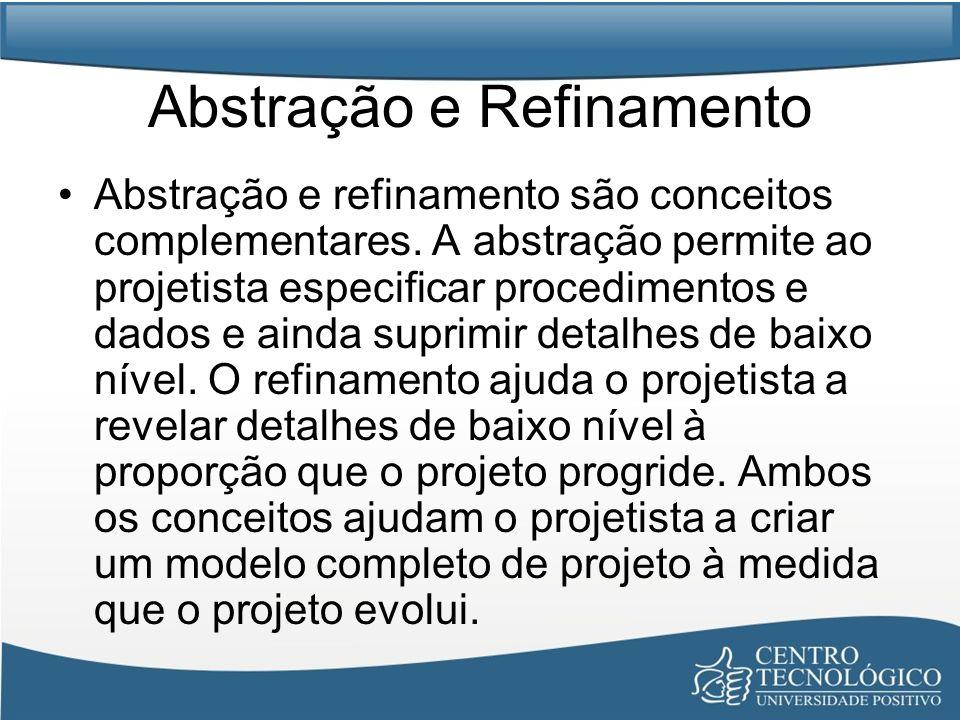 Abstração e Refinamento Abstração e refinamento são conceitos complementares. A abstração permite ao projetista especificar procedimentos e dados e ai