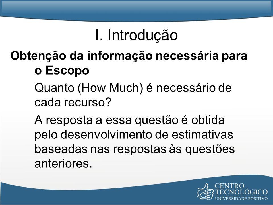 I. Introdução Obtenção da informação necessária para o Escopo Quanto (How Much) é necessário de cada recurso? A resposta a essa questão é obtida pelo