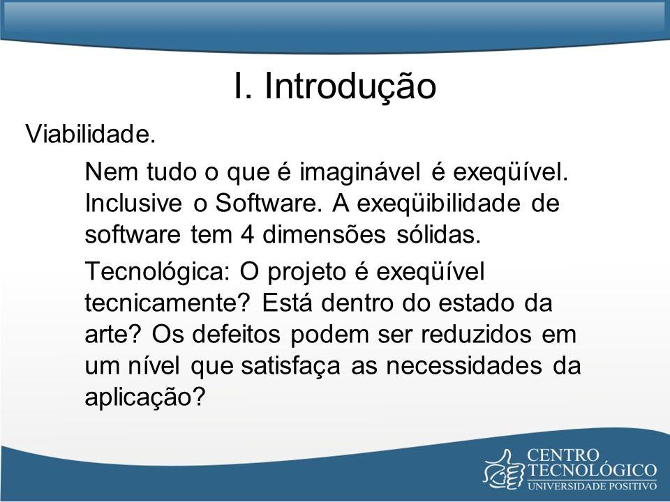 I. Introdução Viabilidade. Nem tudo o que é imaginável é exeqüível. Inclusive o Software. A exeqüibilidade de software tem 4 dimensões sólidas. Tecnol