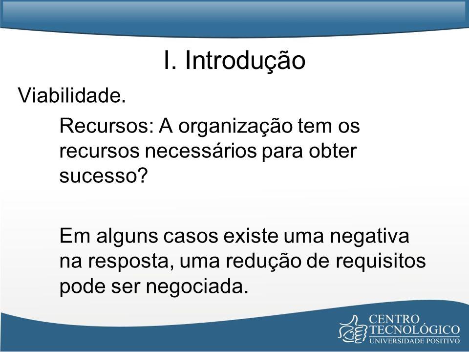 I. Introdução Viabilidade. Recursos: A organização tem os recursos necessários para obter sucesso? Em alguns casos existe uma negativa na resposta, um