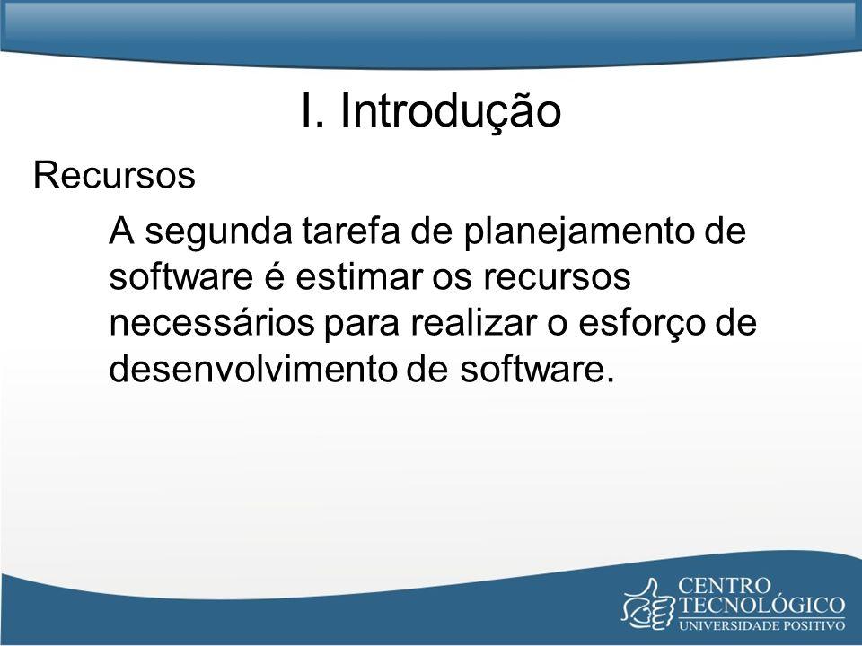 I. Introdução Recursos A segunda tarefa de planejamento de software é estimar os recursos necessários para realizar o esforço de desenvolvimento de so