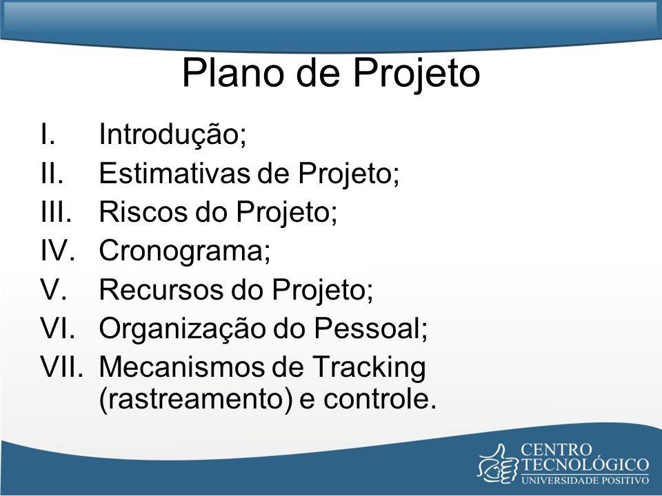 Plano de Projeto I.Introdução; II.Estimativas de Projeto; III.Riscos do Projeto; IV.Cronograma; V.Recursos do Projeto; VI.Organização do Pessoal; VII.