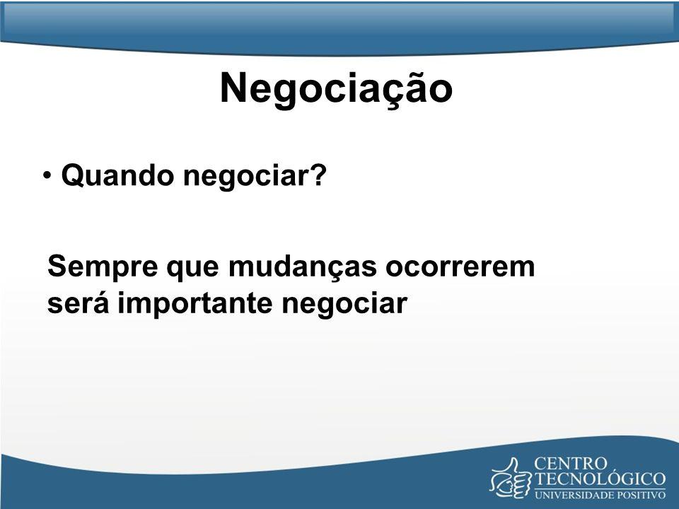 Negociação Quando negociar? Sempre que mudanças ocorrerem será importante negociar