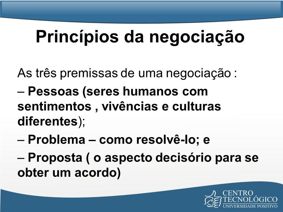 Princípios da negociação As três premissas de uma negociação : – Pessoas (seres humanos com sentimentos, vivências e culturas diferentes); – Problema