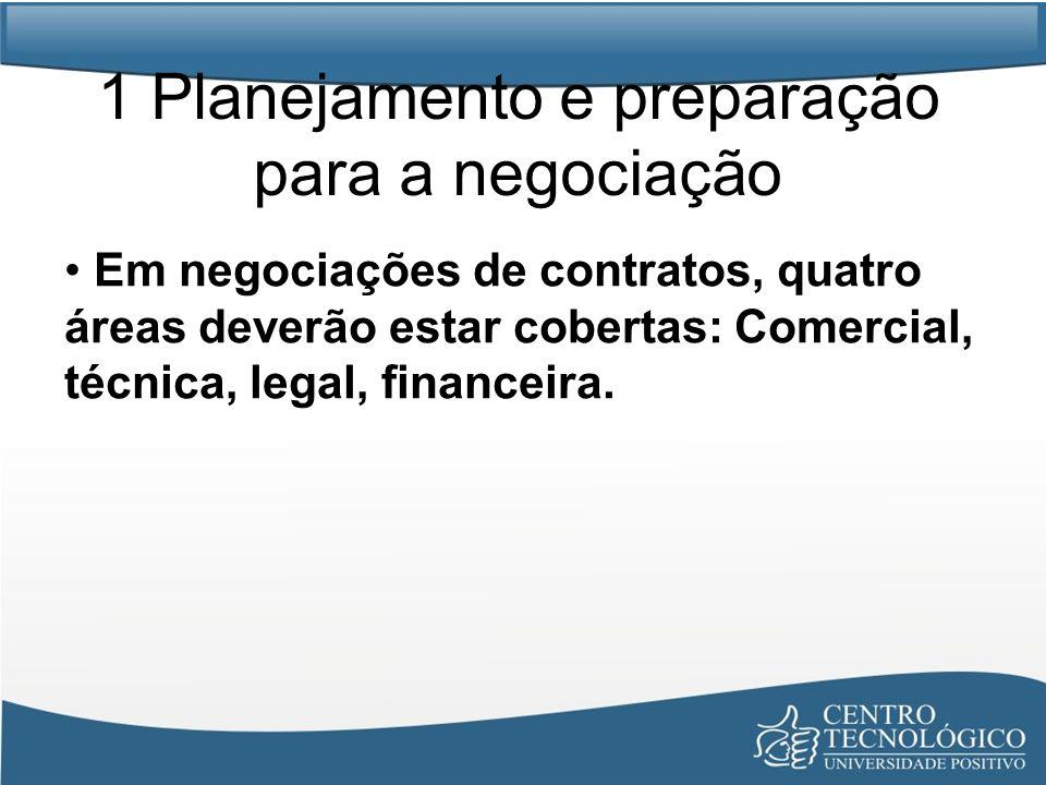 1 Planejamento e preparação para a negociação Em negociações de contratos, quatro áreas deverão estar cobertas: Comercial, técnica, legal, financeira.