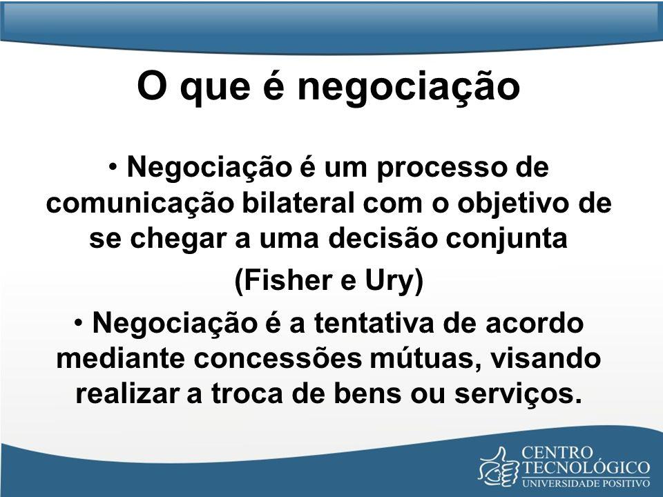 O que é negociação Negociação é um processo de comunicação bilateral com o objetivo de se chegar a uma decisão conjunta (Fisher e Ury) Negociação é a