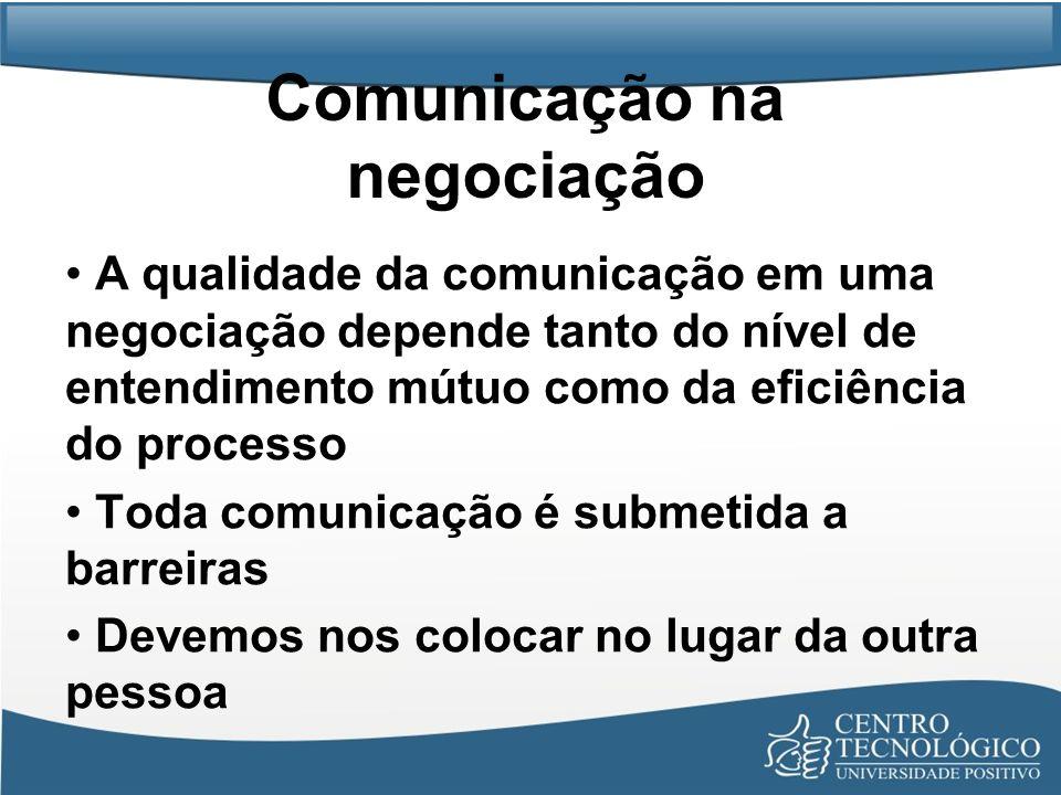 Comunicação na negociação A qualidade da comunicação em uma negociação depende tanto do nível de entendimento mútuo como da eficiência do processo Tod