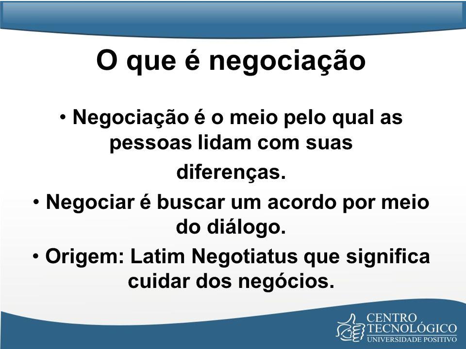 O que é negociação Negociação é o meio pelo qual as pessoas lidam com suas diferenças. Negociar é buscar um acordo por meio do diálogo. Origem: Latim