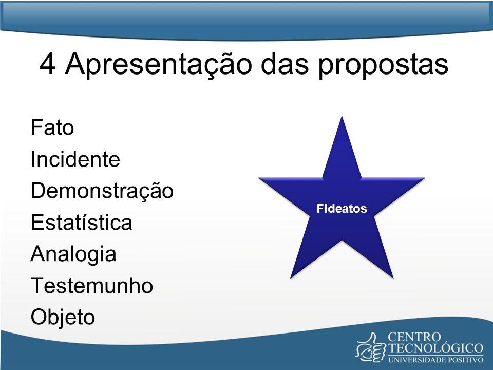 4 Apresentação das propostas Fato Incidente Demonstração Estatística Analogia Testemunho Objeto Fideatos