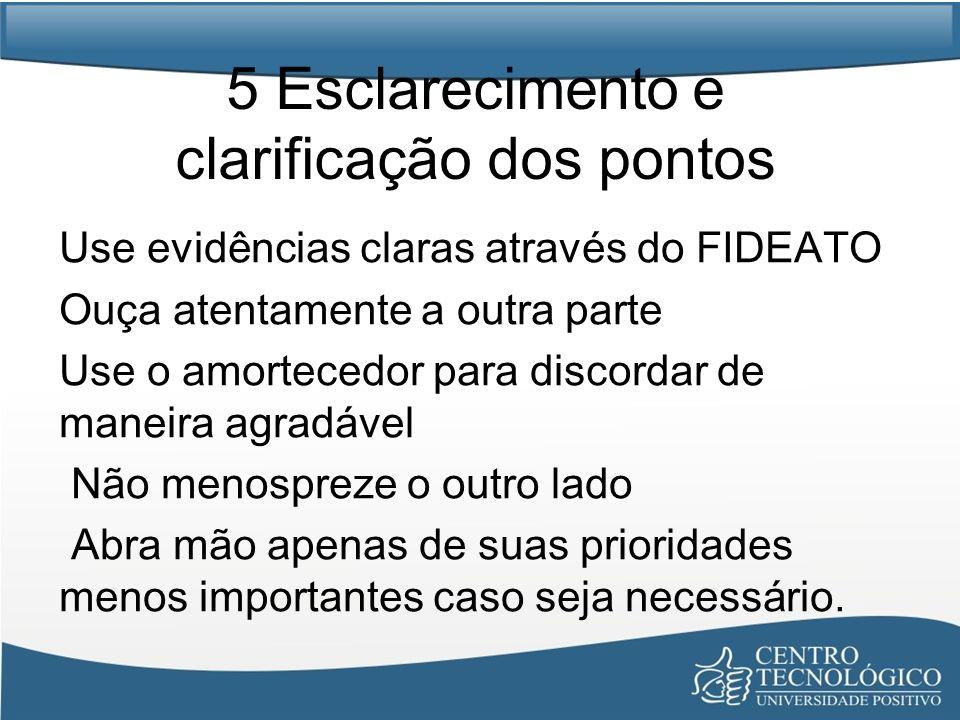 5 Esclarecimento e clarificação dos pontos Use evidências claras através do FIDEATO Ouça atentamente a outra parte Use o amortecedor para discordar de