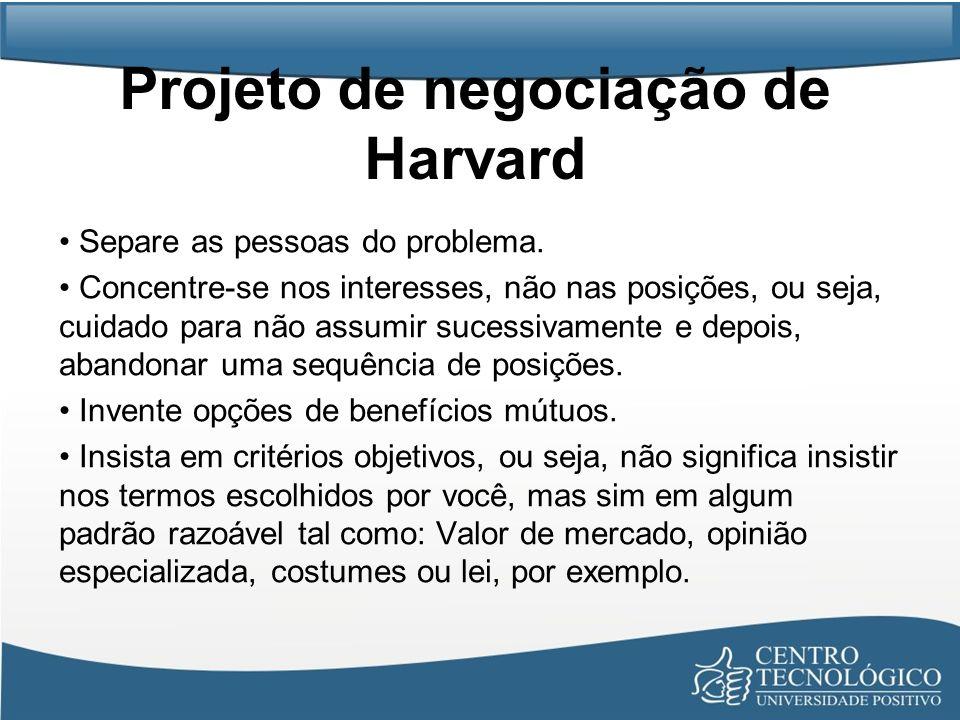 Projeto de negociação de Harvard Separe as pessoas do problema. Concentre-se nos interesses, não nas posições, ou seja, cuidado para não assumir suces