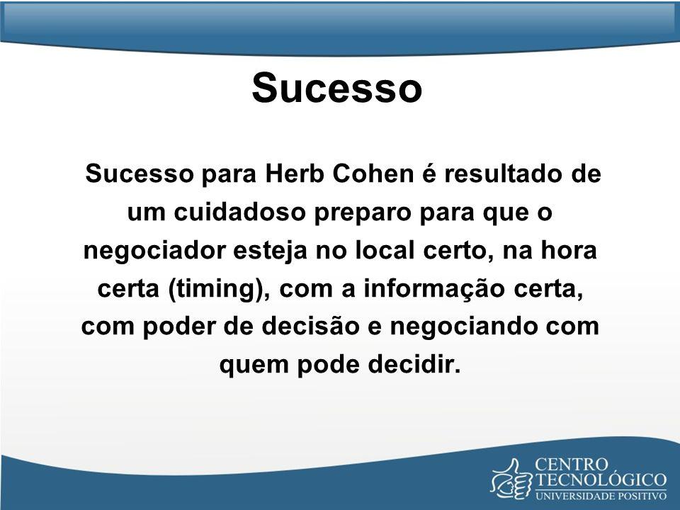 Sucesso Sucesso para Herb Cohen é resultado de um cuidadoso preparo para que o negociador esteja no local certo, na hora certa (timing), com a informa