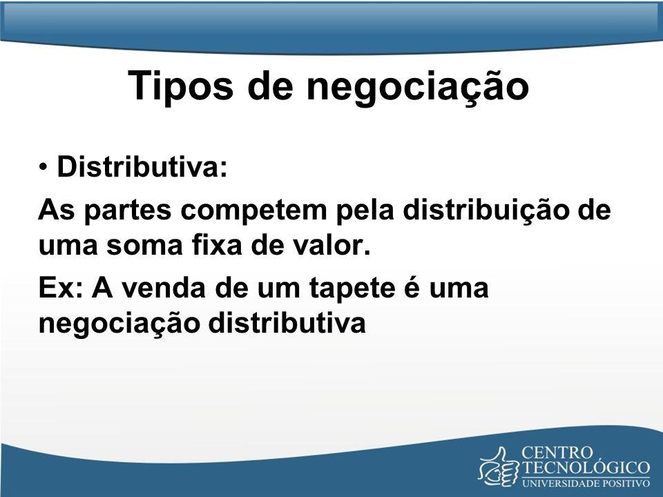 Tipos de negociação Distributiva: As partes competem pela distribuição de uma soma fixa de valor. Ex: A venda de um tapete é uma negociação distributi