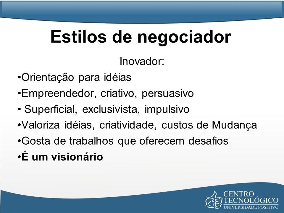 Estilos de negociador Inovador: Orientação para idéias Empreendedor, criativo, persuasivo Superficial, exclusivista, impulsivo Valoriza idéias, criati