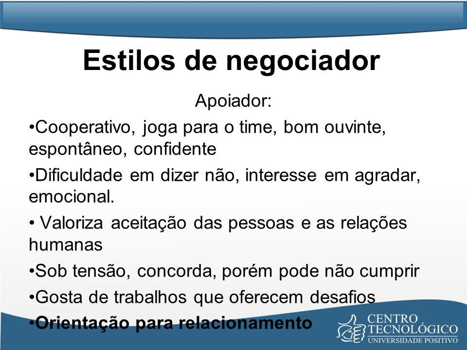 Estilos de negociador Apoiador: Cooperativo, joga para o time, bom ouvinte, espontâneo, confidente Dificuldade em dizer não, interesse em agradar, emo
