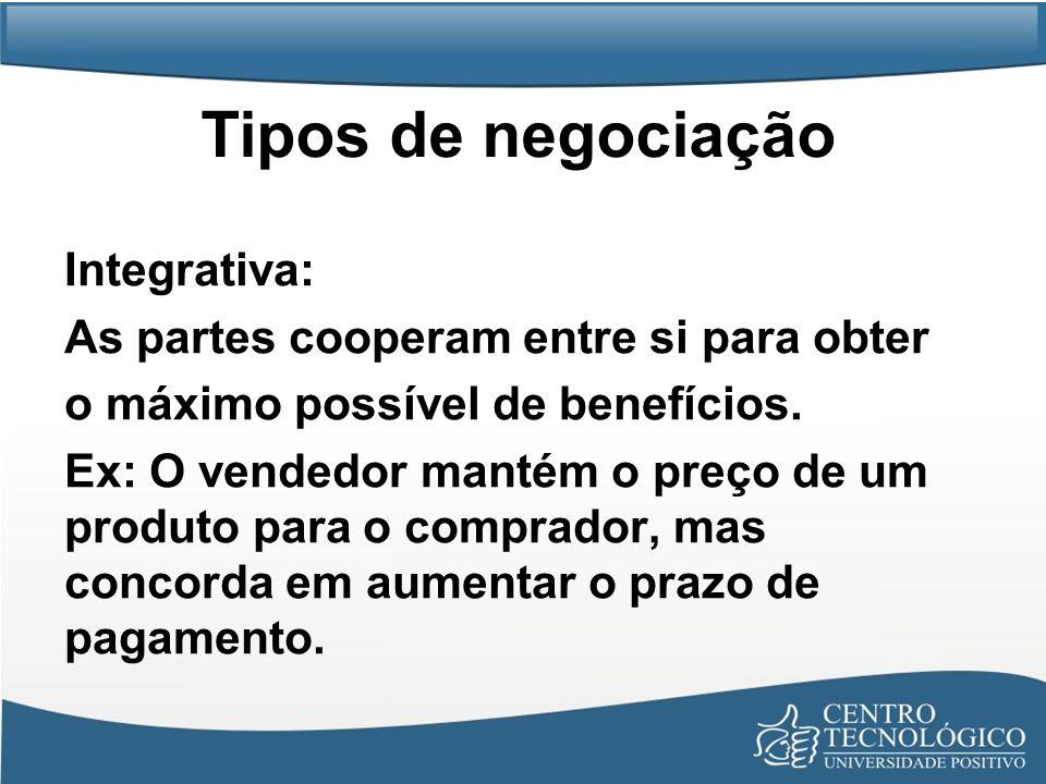 Tipos de negociação Integrativa: As partes cooperam entre si para obter o máximo possível de benefícios. Ex: O vendedor mantém o preço de um produto p