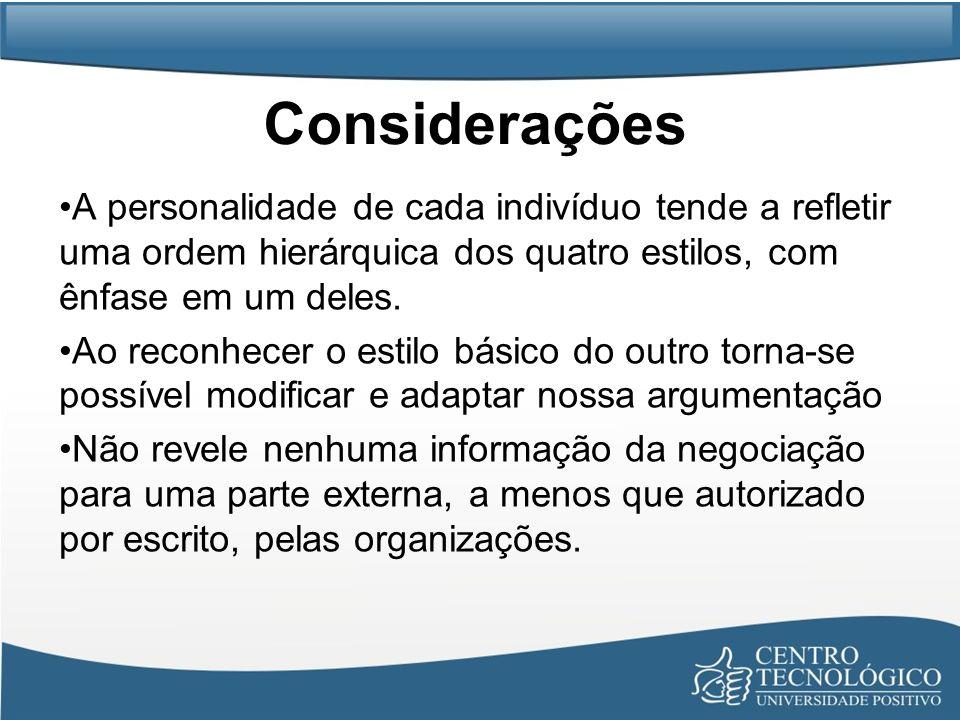 Considerações A personalidade de cada indivíduo tende a refletir uma ordem hierárquica dos quatro estilos, com ênfase em um deles. Ao reconhecer o est