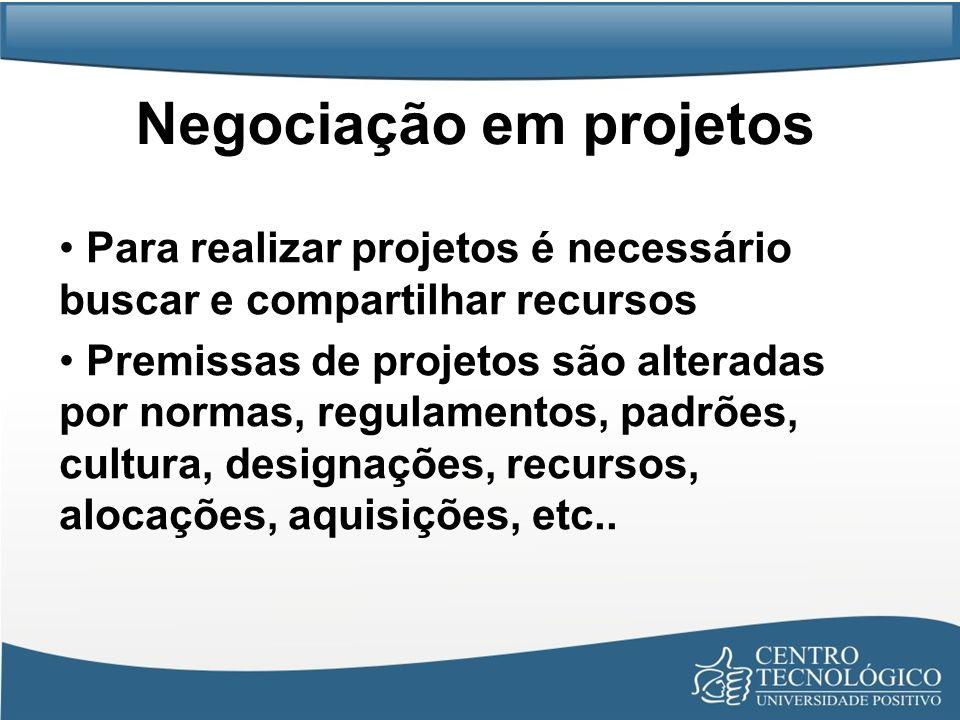 Negociação em projetos Para realizar projetos é necessário buscar e compartilhar recursos Premissas de projetos são alteradas por normas, regulamentos