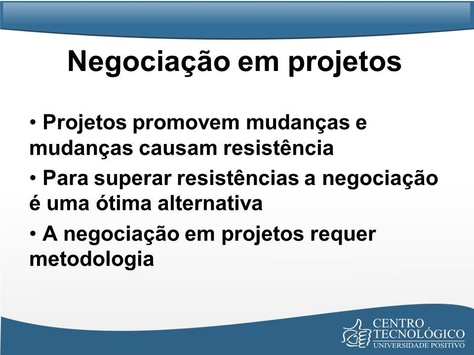 Negociação em projetos Projetos promovem mudanças e mudanças causam resistência Para superar resistências a negociação é uma ótima alternativa A negoc
