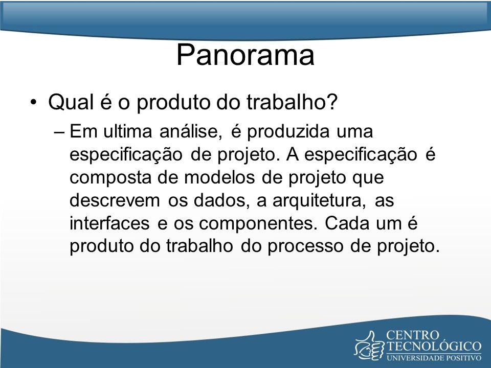Panorama Qual é o produto do trabalho? –Em ultima análise, é produzida uma especificação de projeto. A especificação é composta de modelos de projeto