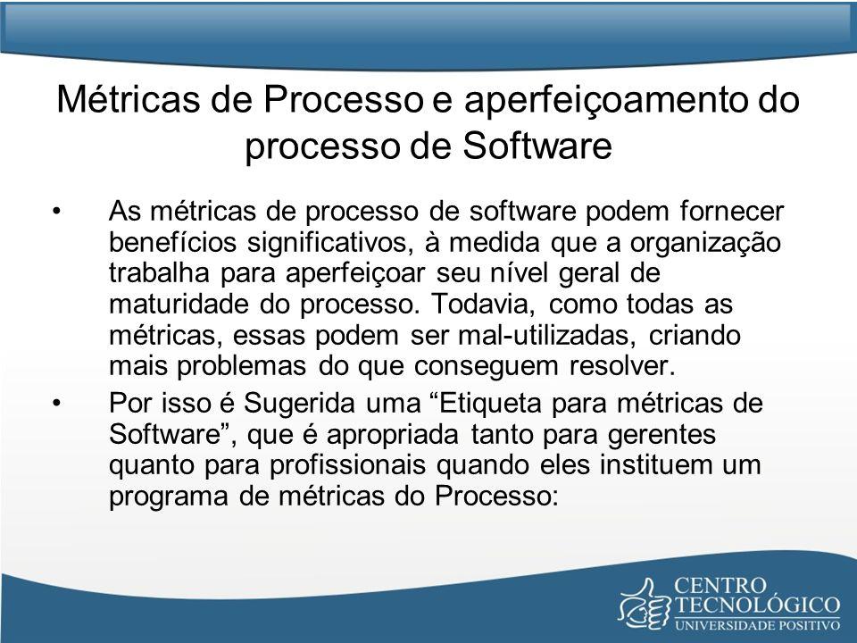 Métricas de Processo e aperfeiçoamento do processo de Software As métricas de processo de software podem fornecer benefícios significativos, à medida que a organização trabalha para aperfeiçoar seu nível geral de maturidade do processo.