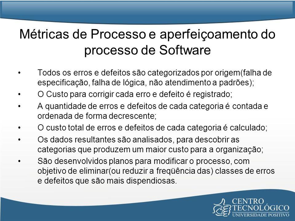 Métricas de Processo e aperfeiçoamento do processo de Software Todos os erros e defeitos são categorizados por origem(falha de especificação, falha de lógica, não atendimento a padrões); O Custo para corrigir cada erro e defeito é registrado; A quantidade de erros e defeitos de cada categoria é contada e ordenada de forma decrescente; O custo total de erros e defeitos de cada categoria é calculado; Os dados resultantes são analisados, para descobrir as categorias que produzem um maior custo para a organização; São desenvolvidos planos para modificar o processo, com objetivo de eliminar(ou reduzir a freqüência das) classes de erros e defeitos que são mais dispendiosas.