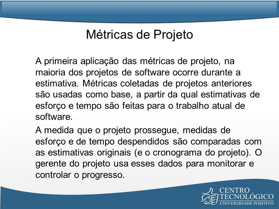Métricas de Projeto A primeira aplicação das métricas de projeto, na maioria dos projetos de software ocorre durante a estimativa.