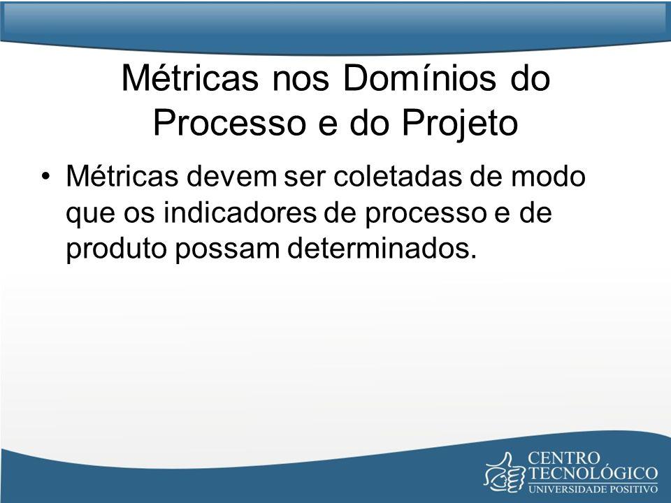 Métricas nos Domínios do Processo e do Projeto Métricas devem ser coletadas de modo que os indicadores de processo e de produto possam determinados.