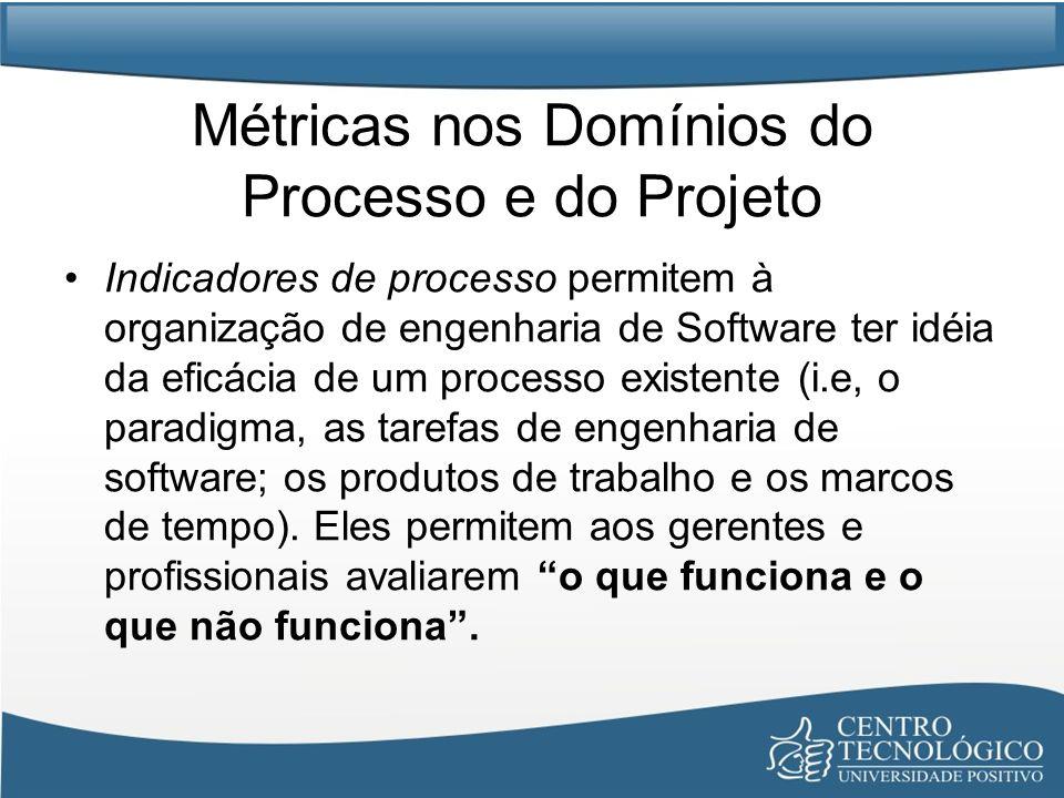 Métricas nos Domínios do Processo e do Projeto Indicadores de processo permitem à organização de engenharia de Software ter idéia da eficácia de um processo existente (i.e, o paradigma, as tarefas de engenharia de software; os produtos de trabalho e os marcos de tempo).