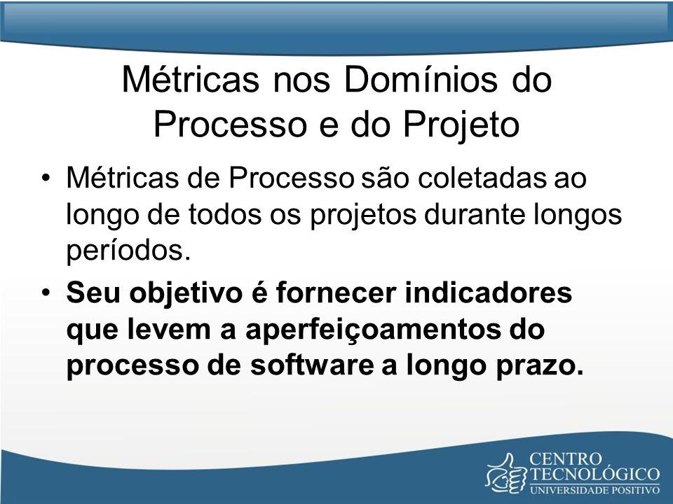 Métricas nos Domínios do Processo e do Projeto Métricas de Processo são coletadas ao longo de todos os projetos durante longos períodos.