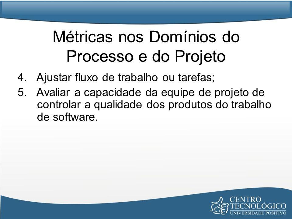Métricas nos Domínios do Processo e do Projeto 4.Ajustar fluxo de trabalho ou tarefas; 5.