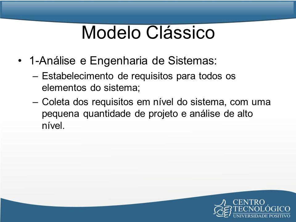 Modelo Clássico 2-Análise de Requisitos de Software: –Intensificação da coleta dos requisitos, focando o software; –Compreensão do domínio da informação, função, desempenho e interface exigidos; Requisitos são validados com os clientes.