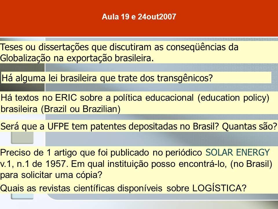 Teses ou dissertações que discutiram as conseqüências da Globalização na exportação brasileira.