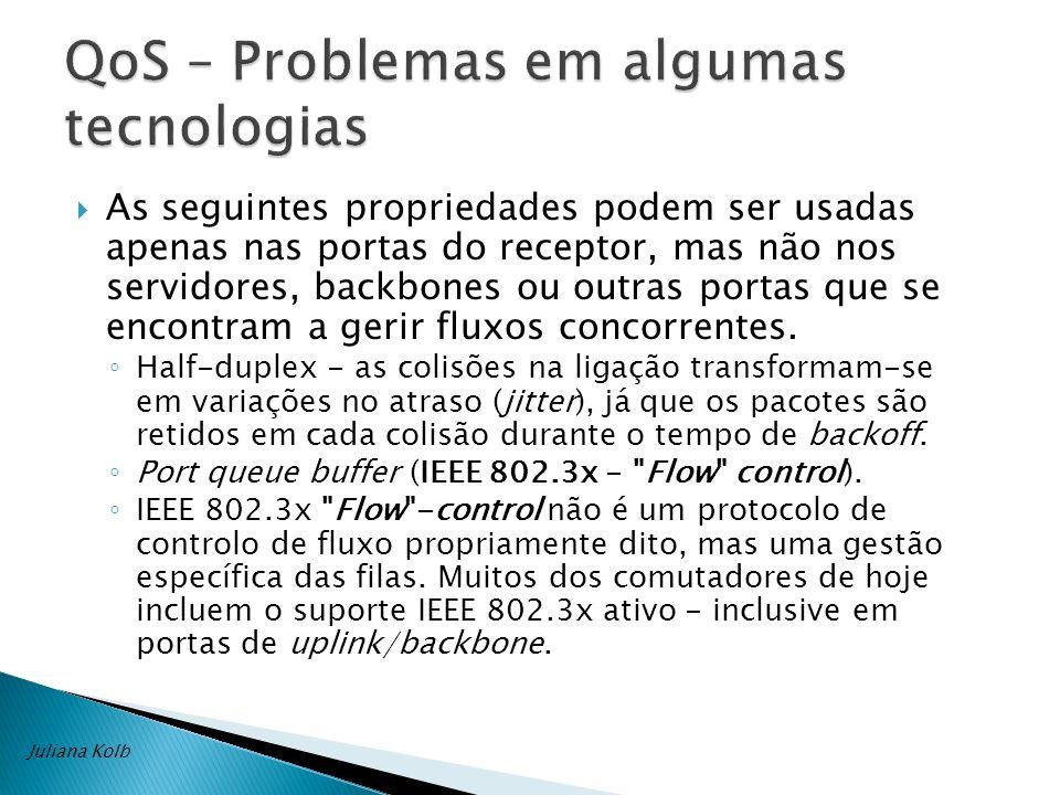 A norma IEEE 802.3x e QoS são incompatíveis. Juliana Kolb