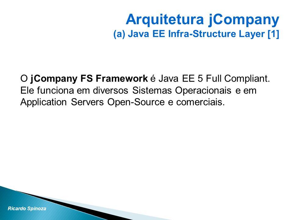 Ricardo Spinoza O jCompany FS Framework é Java EE 5 Full Compliant. Ele funciona em diversos Sistemas Operacionais e em Application Servers Open-Sourc