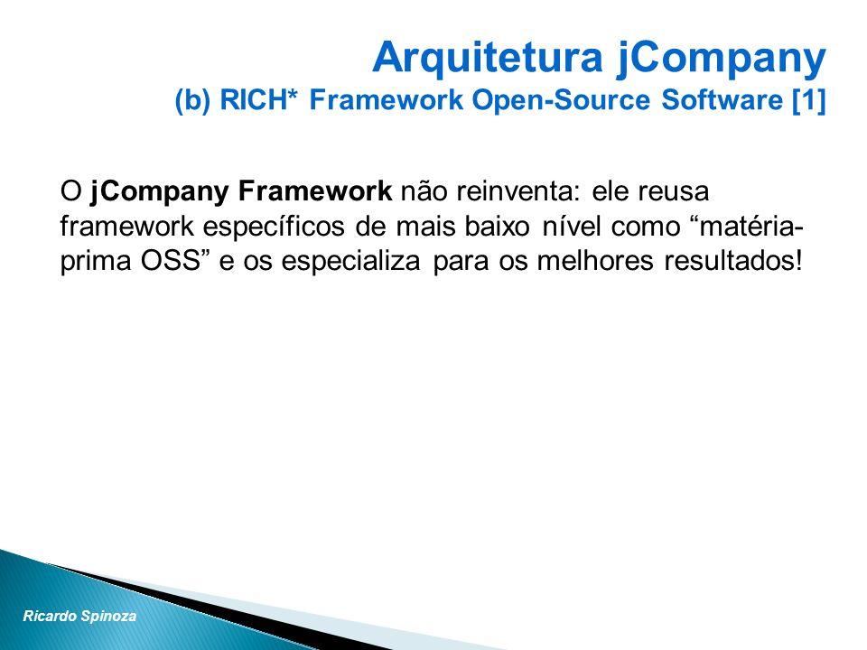 Ricardo Spinoza O jCompany Framework não reinventa: ele reusa framework específicos de mais baixo nível como matéria- prima OSS e os especializa para