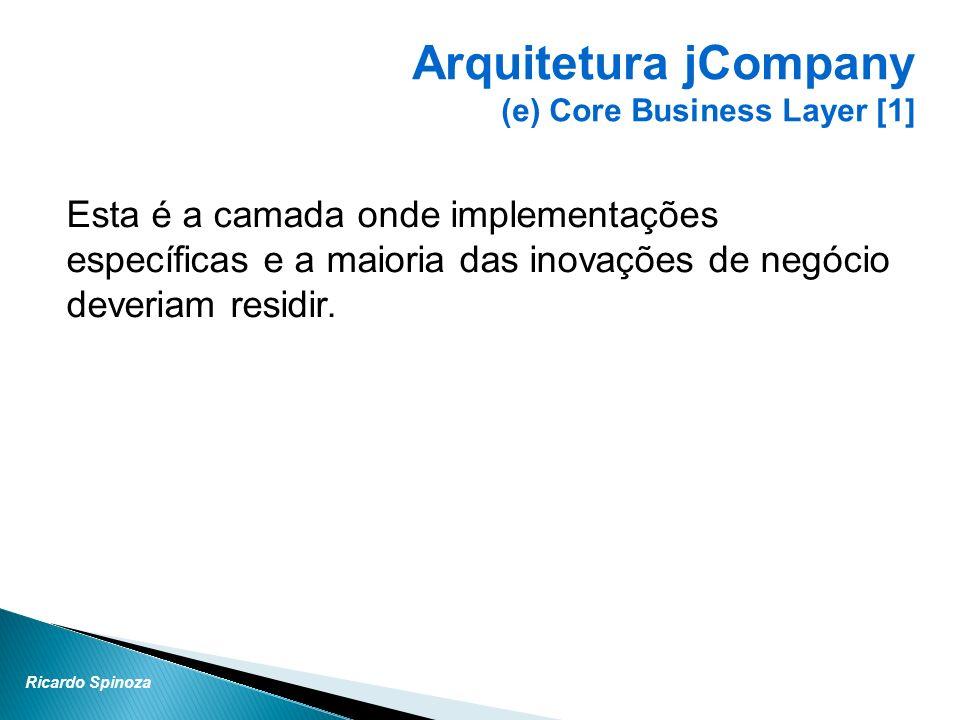 Ricardo Spinoza Esta é a camada onde implementações específicas e a maioria das inovações de negócio deveriam residir. Arquitetura jCompany (e) Core B