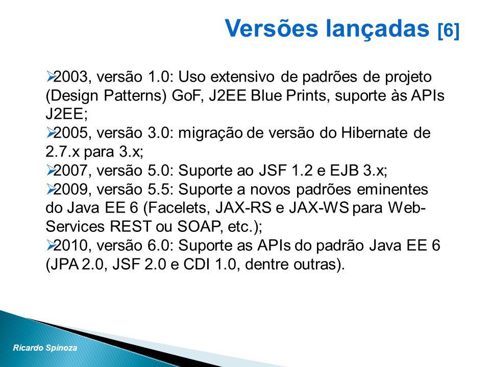 Ricardo Spinoza Versões lançadas [6] 2003, versão 1.0: Uso extensivo de padrões de projeto (Design Patterns) GoF, J2EE Blue Prints, suporte às APIs J2