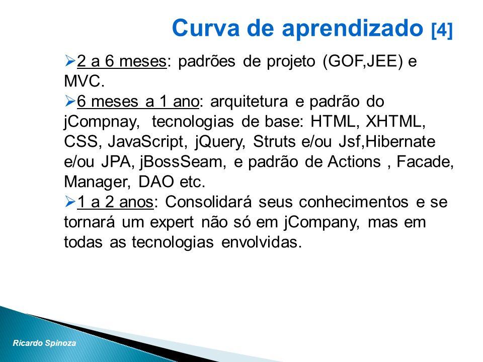 Ricardo Spinoza Curva de aprendizado [4] 2 a 6 meses: padrões de projeto (GOF,JEE) e MVC. 6 meses a 1 ano: arquitetura e padrão do jCompnay, tecnologi