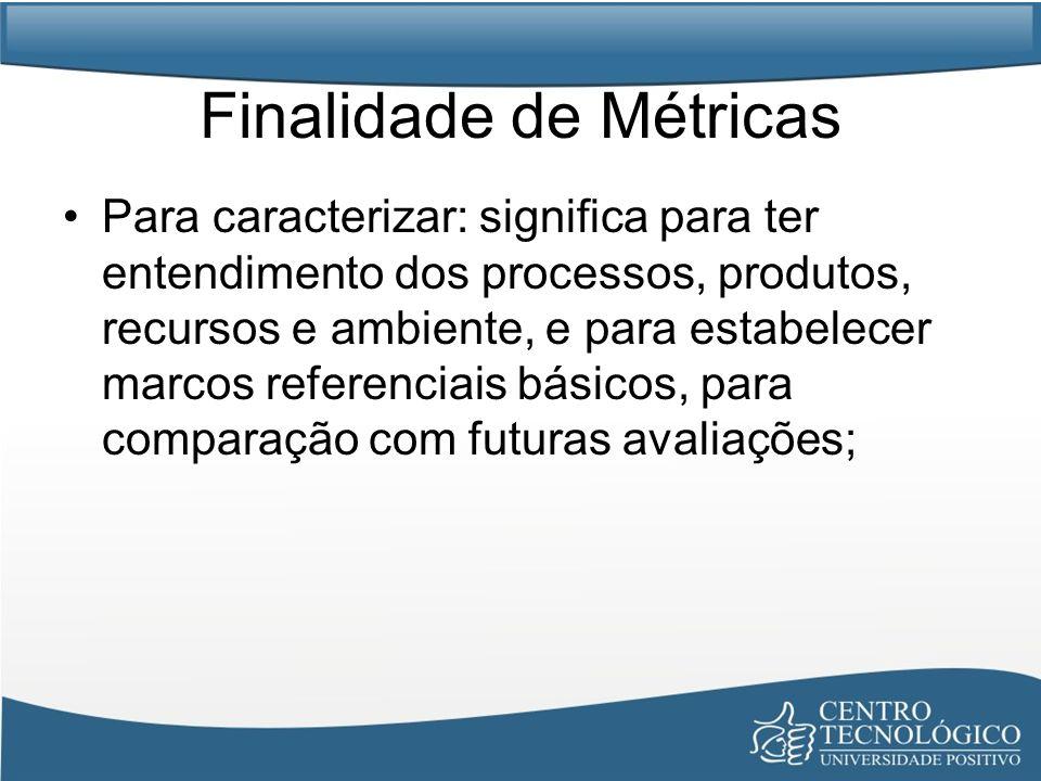 Finalidade de Métricas Para caracterizar: significa para ter entendimento dos processos, produtos, recursos e ambiente, e para estabelecer marcos refe