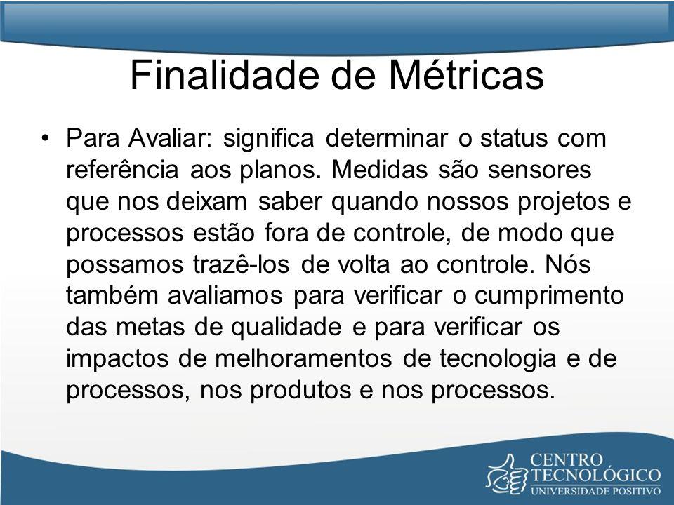 Finalidade de Métricas Para Avaliar: significa determinar o status com referência aos planos. Medidas são sensores que nos deixam saber quando nossos