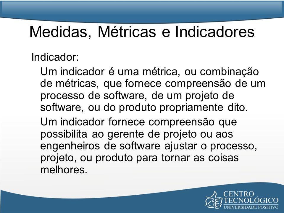 Medidas, Métricas e Indicadores Indicador: Um indicador é uma métrica, ou combinação de métricas, que fornece compreensão de um processo de software,