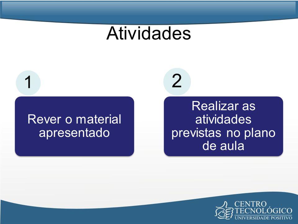 Atividades Rever o material apresentado Realizar as atividades previstas no plano de aula 1 2