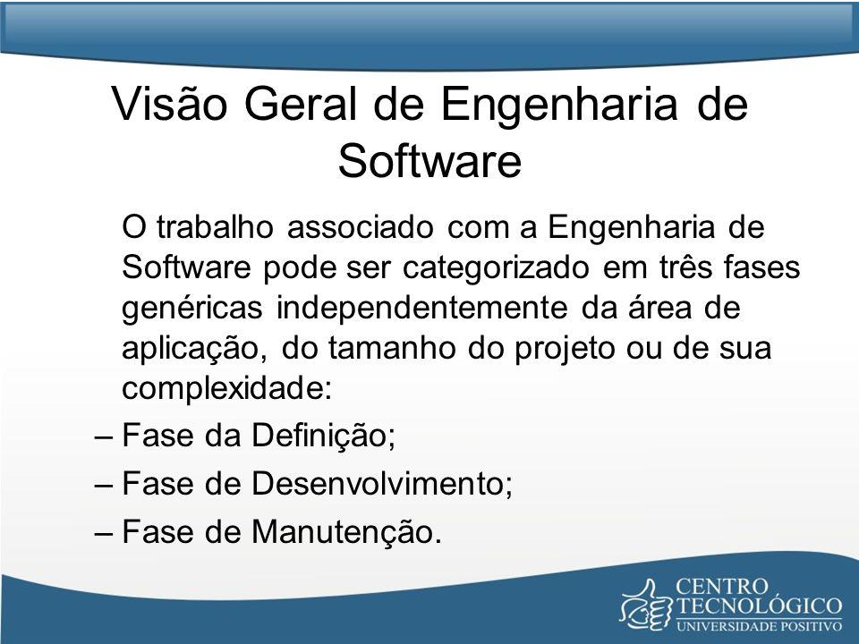 Visão Geral de Engenharia de Software O trabalho associado com a Engenharia de Software pode ser categorizado em três fases genéricas independentement