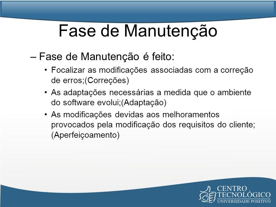 Fase de Manutenção –Fase de Manutenção é feito: Focalizar as modificações associadas com a correção de erros;(Correções) As adaptações necessárias a m